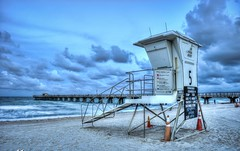 Lifeguard Tower at Pompano Beach Storm Clouds (Pompano Beach Engineer) Tags: captainkimo florida hdrphotography palmbeachcounty photomatixpro pompanobeach pompanobeachpier waterway lifeguardtower