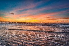 Fiery Sunrise at the Coast (tod grubbs) Tags: portaransas sunrise seascape oceanbeach fishing caldwellpier surf seaweeds ripplessand waves shore texasgulf texascoast gulfofmexico coastal texasbeaches