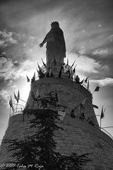 Our Lady of Lebanon Against Sunset (taharaja) Tags: beach beirut church harissadaraoun masjid minaret mosque theshrineofourladyoflebanon amin byblos hariri harissa kaserwan lebanon mohammed mountlebanon ourladyoflebanon rafiq romanruins virginmary