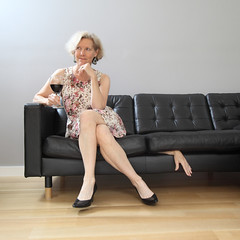 Finished Business (YetAnotherLisa) Tags: hand suspense werehere unfinishedbusiness dark macabre sofa woman heels highheels wine self portrait horror