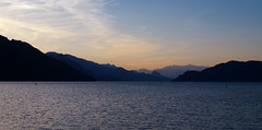 Harrison Lake (Kristian Francke) Tags: lake outdoors landscape panorama pentax sunset sun blue mountain mountains ridge silhouette silhouettes sky day dusk