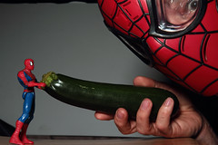 Day 25 - Toys with food or clash of the spideys (Rob Johnstone) Tags: middle age aged man 365 self selfie portrait project mask toys with food wh werehere courgette