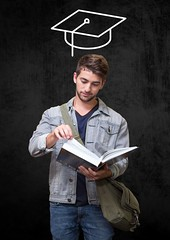 Teenage student with mortarboard above head reading book against black background (gconnect.education) Tags: 20s youngadult man male caucasian black digital illustration icon education graduation university academic college knowledge student school campus highereducation collegestudent universitystudent library bookshelf holding book textbook bookbag concentrated thoughtful reading looking attentively focused concentrating handsome leaning stack pile armscrossed handsfolded welldressed smart elegant classy stylish portrait box cardboardbox suit happy smiling cheerful hands pocket posing tie blue jacket profession sophisticated shorthair gesture arm outstretched presentation finger sign touching