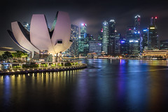Singapore skyline at the Marina during twilight. (Photowithyou) Tags: architecture arts asia asian bay buildings business city citystate cityscape coast country dawn day district dusk esplanade evening famous financial harbor helix high hotel landmark landscape location marina modern morning museum national night reflection rises river sands scene scenery sea singapore skyline sunset traffic twilight view water waterfront