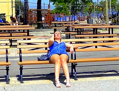 Feel Free to Phone and Sunbath (dimaruss34) Tags: newyork brooklyn dmitriyfomenko image sky spring manhattanbeach trees bench woman