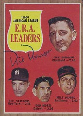 1962 Topps / 1961 American League E.R.A. Leaders #55 - DICK DONOVAN (Pitcher) (b. 27 Dec 1927 - d. 6 Jan 1997 at age 69) - Autographed Baseball Card (Cleveland Indians) (Baseball Autographs Football Coins) Tags: 1962 topps 1962topps baseball cards baseballcard vintage auto autograph graf graph graphed sign signed signature dickdonovan clevelandindians eraleaders pitcher