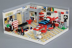 Boy's Room (soccersnyderi) Tags: lego moc creation model city modern bed room bedroom kids toy mirror aquarium hallway closet desk chair window curtains telescope scooter