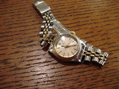 """LADIES ROLEX OYSTER PERPETUAL WRISTWATCH, TWO-TONE. • <a style=""""font-size:0.8em;"""" href=""""http://www.flickr.com/photos/51721355@N02/35182893062/"""" target=""""_blank"""">View on Flickr</a>"""