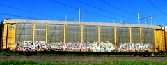 pestoe - enuf - crob - shuks '07 (timetomakethepasta) Tags: pestoe enuf crob shuks omt hlk outlaws elk freight train graffiti art autorack bnsf benching selkirk new york photography