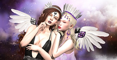 Angels (meriluu17) Tags: foxcity ersch una enfersombre slackgirl angel angels fairy fae fairies faes elven fantasy fantastic surreal people portrait friends sisters sisi bond cuddle angelic heaven feather feathers wing wings gem crystal