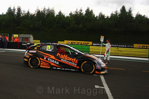 Matt Neal on the BTCC grid at Croft, June 2017