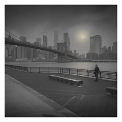 Empire Fulton Ferry (Vesa Pihanurmi) Tags: brooklyn newyorkcity nyc manhattan brooklynbridge man figure longexposure eastriver 1wtc freedomtower metaphysical metaphysics