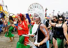 Mermaid Devils and Superheros (kirstiecat (on vacation...)) Tags: mermaid nyc newyorkcity mermaidparade float people happy fun usa america canon street devil catwoman superheroes brooklyn coneyisland wonderwheel