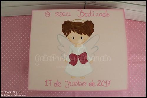 """Caixa de batizado e moldura """"Sweet Girl Angel"""""""