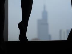the city under my feet (soufflelove.) Tags: feet stocking window urban lol silhouette