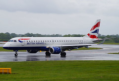 BA Cityflyer G-LCYK. 20/05/17. (Cameron Gaines) Tags: cn 19000343 first flew march 2010 was delivered ba cityflyer 8th april the aircraft departed san jose des campos via recife tenerifesouth before arriving exeter 9th embraer erj190sr glcyk taxiing bravo after exiting 23r arrival from nice have based 2 erj190s man for summer season 200517 egcc manchester greater cheshire lancashire trafford wythenshawe erj190 erj grass rain shower weather rainfall taxiway trees alpha