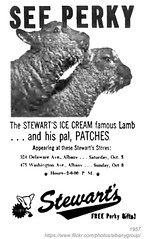 1957 stewart's ice cream perky and patches (albany group archive) Tags: albany ny history 1957 stewarts ice cream perky patches lamb mascot milk dairy 1950s old vintage photos photo historic historical photograph