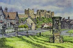 Bamburgh, Northumberland (jeff smith 55) Tags: bamburgh castles village northumberland watercolour mixed media ink cottages