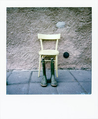 No One (Italian Film Photography) Tags: empty chair shoes plastic abstract film analogue yellow sedia stivali vuota giallo analogica instant istantanmea polaroid impossible color600