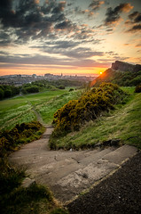 Path & Sunset on the Crags (CarnivoreDaddy) Tags: sunset path salisburycrags arthursseat holyroodpark edinburgh sky clouds steps park outdoors evening hdr handheld lightroom nikon d7000 sigma sigma175028