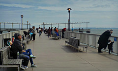 A Time Out (Robert S. Photography) Tags: pier steeplechase coneyisland boardwalk scene people fishing contemplating benches spring beach sky lights lamps brooklyn newyork nikon coolpix l340 iso80 may 2017