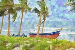 Good Father (Pejasar) Tags: fishingboat boat goodfather palmtrees atlantic ocean art artistic ghana westafrica africa waves beach