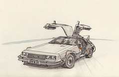 Back To The Future DeLorean (Namtra) Tags: arnohartmann classiccar oldtimer roleplayconvention cologne köln kölnmesse fair fineliner watercolour watercolor aquarell bleistift pencil