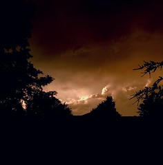 The view from my front porch after a storm. (Patrick.Burns) Tags: ozarks orange sunset clouds sky storm