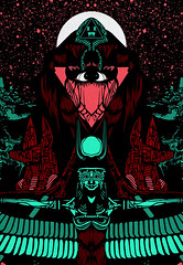 XWWX ATLANTIS NEON LAPIS   detail 1 (atlantisdeception) Tags: xwwx atlantis theatlantisdeception the deception nohj nohjxwwx markhjackson unbound book of john hunter johnhowse howse brookes amreading amwriting markjackson nohjhowse xwwxart art print design isis anu moon esoteric illustration cover poster detail