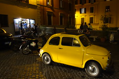 Vintage Old Yellow Fiat Cinquecento (Alessandro Ronchi) Tags: rome roma cinquecento fiat monti