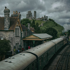 last train from the castle 2 (stocks photography.) Tags: michaelmarsh corfe castle station steamtrain photographer train steam cinematic dorset england railway photography