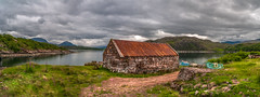 The boat shed... (Einir Wyn Leigh) Tags: landscape seascape coast sea loch scotland outside wet june happy love building boats fishing clouds mountains green peace colorful uk view scenery water