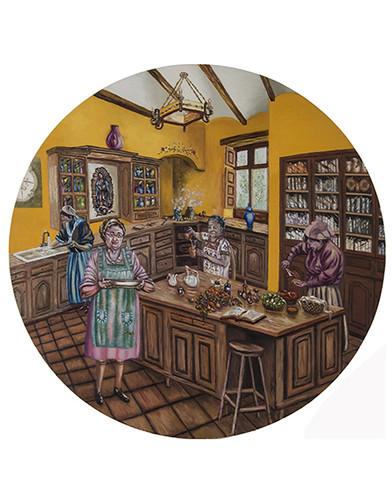 Autor: JOSE GERARDO URIBE AGUAYO, La cocina de mamá  100 diámetro