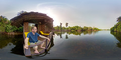 Enjoying a morning view at the Lagoon Floating Lodge