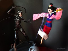 Catwoman vs. Mulan - Anniversary Edition (AaronMalibu) Tags: mulan disney princess china catwoman michellepfeiffer selinakyle tweeterhead batmanreturns statue
