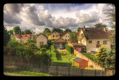 """The Girl on the Train"" takes a photo... (Sherrianne100) Tags: takenfromatrain frenchcountryside backyards france"