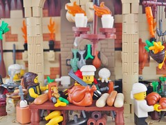 Chef Délicieux's Castle Kitchen (gid617) Tags: lego kitchen medieval tan walls arches floor