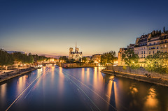 Notre-Dame at blue hour (Sizun Eye) Tags: paris notredame notredamecathedral cathedral seine seineriver riverside dusk bluehour lighttrails iledefrance france europe sizuneye nikond750 d750 nikon