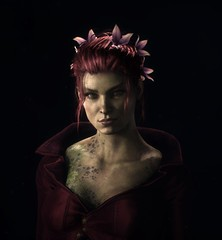 """Pretty woman"" (L1netty) Tags: girl portrait ivy batmanarkhamknight screenshot games people gaming reshade pc rocksteady face eyes dark character closeup 4k color red greeneyes lips tattoos videogame"