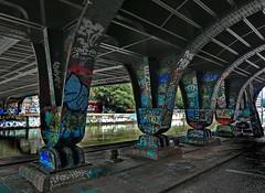 graffiti legal (christikren) Tags: graffiti wien vienna donaukanal sprayer bilder kult art riverdanube centre city bridges danubecanal jogger skater festival artists scene künstler streetart christikren konstruktion steel brücke urban life reflections water