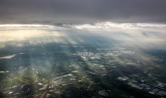 Dutch Sunrays (Andy.Gocher) Tags: andygocher canon100d sigma18250 canon100dsigma18250 aeroplaneseat aeroplanewindow aerial windowseat flying sky clouds cloudsstormssunsetssunrises sunrays sun sunshine landscape netherlands holland amsterdam schiphol klm