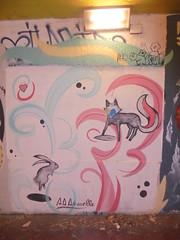 487 (en-ri) Tags: animelle coniglio rabit volpe fox wall muro graffiti writing bianco nero rosso azzurro love amore firenze
