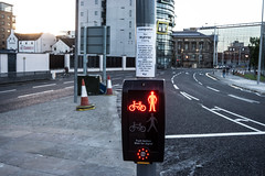PUFFIN CROSSING IN BELFAST [ A NEW TYPE OF PEDESTRIAN CROSSING]-129111 (infomatique) Tags: pedestriancrossing boyracers puffincrossing redman greenman trafficlights noisycars speedlimit speeding 20mph williammurphy infomatique fotonique streetsofbelfast uk northernireland