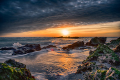 Sun on the Rocks (DonMiller_ToGo) Tags: beachlife sunsetmadness hdrphotography nature goldenhour florida hdr sunset caspersenbeach 3xp waves sunsets onawalk rocks sky sunsetsniper seascapes d810 beachphotography outdoors