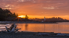 New Day (Paul Rioux) Tags: fisgard lighthouse colwood westshore beach seascape seashore morning sunrise daybreak dawn clouds orange driftwood log calm water ocean sea reflections prioux