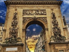 Paris  France ~  Porte Saint-Denis  ~ Historic Monument (Onasill ~ Bill Badzo ~ Enough ~ OFF) Tags: paris france porte saint denis historic monument tourist travel vacation parisian gates wall charles v walls city tur saintdennis boulevard onasill steet scene urban streetscape art arch attractionsite triumphal arches arc de triomphe du carrousel saintmartin motorcycle scooter phorgraphty iphone sky clouds architecture gate