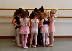 Ballet Lesson #2:  Line-Up for Stickers (Ginger H Robinson) Tags: beginner ballet lesson stickers reward pinktights leotards skirts portrait dance slippers