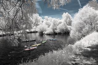 Infrared - Kajaks in the Neckar River
