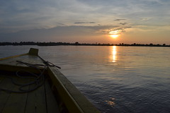 Sunset on the Mekong (Romane Licour) Tags: sunset cambodia mekong river mekongriver sun evening view boat yellow kratie landscape water