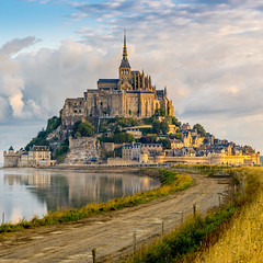 Morning view at the Mont Saint-Michel (thanhnguyen954) Tags: europe france hiking montsaintmichel normandy traveling abbey archangel architecture fortification history island michael monastery religion